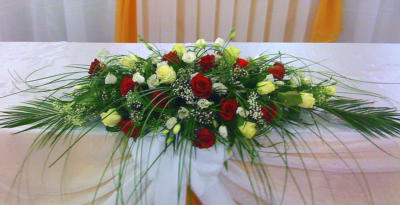 Букет цветов на свадебный стол